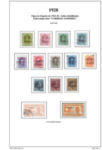 Primera pagina del album de Andorra española 1928-1966