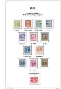 Segunda pagina del album de Andorra española 1928-1966