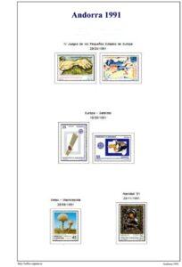 Primera pagina del album de Andorra española 1991-2000
