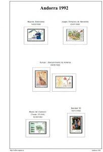 Segunda pagina del album de Andorra española 1991-2000