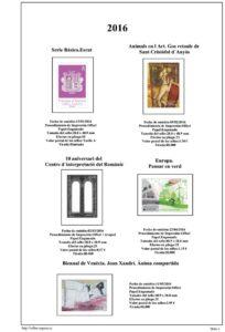 Primera pagina del album de Andorra Española 2016-2017