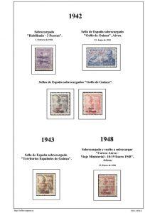 Segunda pagina del album de Guinea Ecuatorial 1941-1950